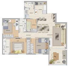 Perspectiva ilustrativa do apartamento tipo Mirante | Condomínio Varandas da Serra – Apartamento na  Serra - Belo Horizonte - Minas Gerais