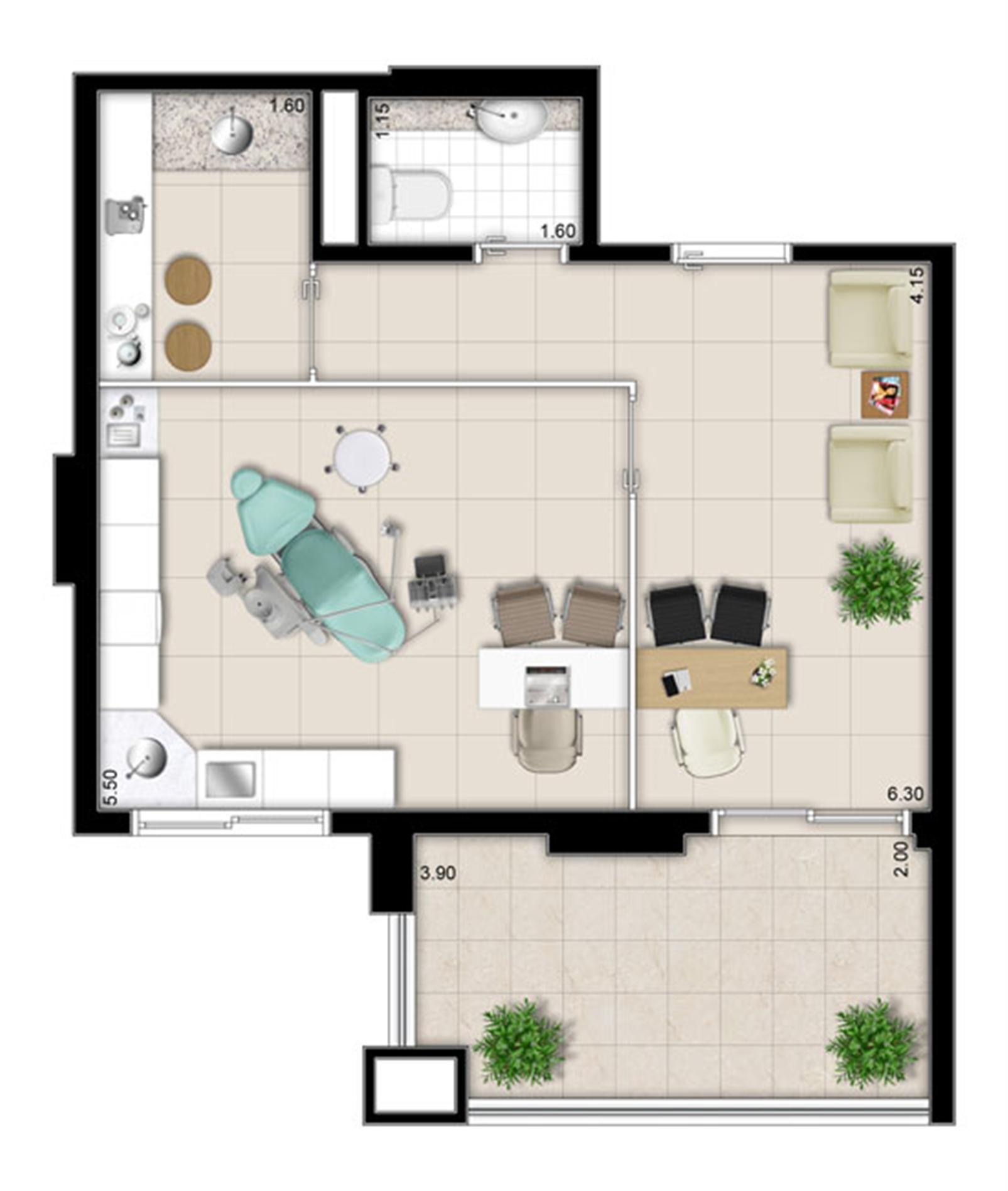 Planta - Tipo ilustrada do escritório de 43 m² privativos | Escritórios Design – Salas Comerciaisno  Cambuí - Campinas - São Paulo