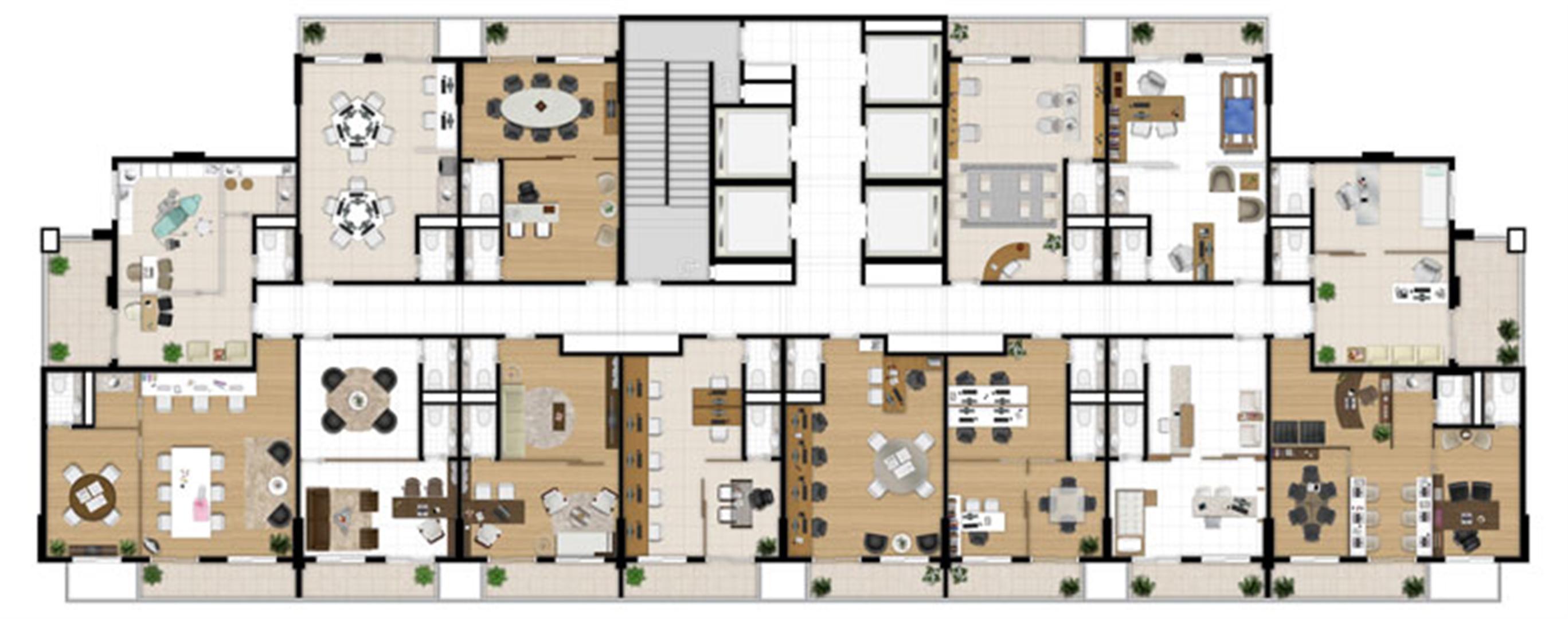 Planta - Tipo ilustrada do pavimento | Escritórios Design – Salas Comerciais no  Cambuí - Campinas - São Paulo
