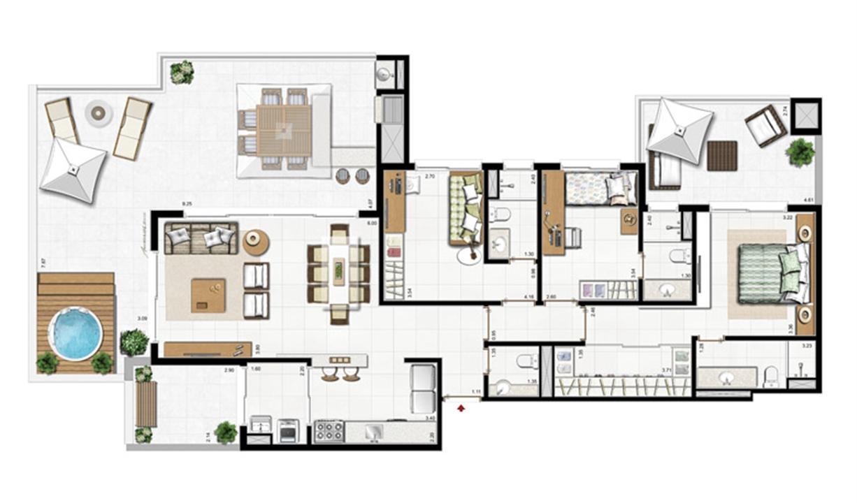 2 dorm com suíte   Planta padrão  78 m² privativos 115 m² de área total  | Visionnaire – Apartamentono  Abraão - Florianópolis - Santa Catarina