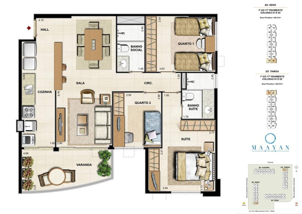Planta tipo 3 quartos - Colunas 01 e 02 - Ed. Reno e Tamisa | Maayan – Apartamentono  Cidade Jardim - Rio de Janeiro - Rio de Janeiro