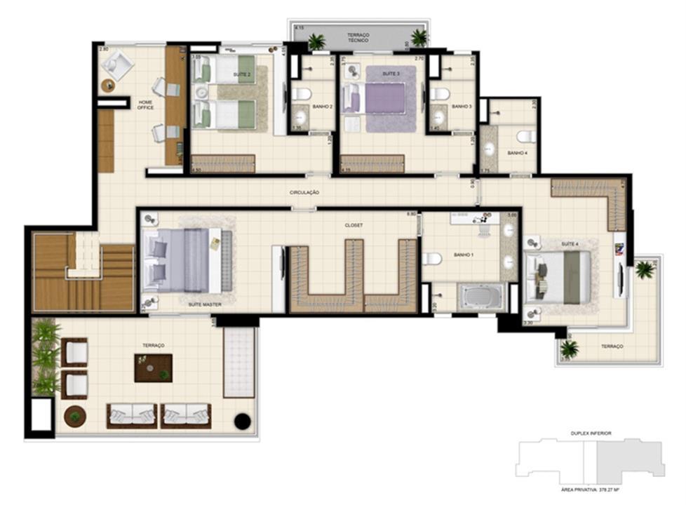 Planta tipo ilustrada do Duplex de 378m² Pavimento inferior | 395 Place – Apartamentoem  Umarizal  - Belém - Pará