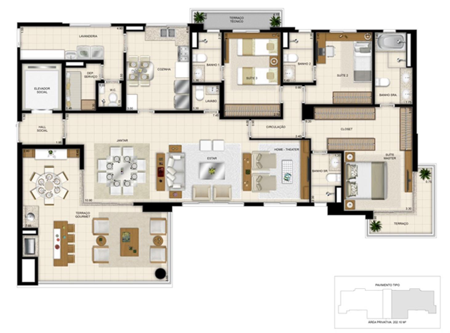 Planta tipo ilustrada do apartamento de 202m² - Opção ampliada | 395 Place – Apartamento em  Umarizal  - Belém - Pará