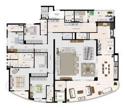 Perspectiva Ilustrada do Apartamento Tipo | Diamond LifeStyle – Apartamento no  Jardim Goiás - Goiânia - Goiás
