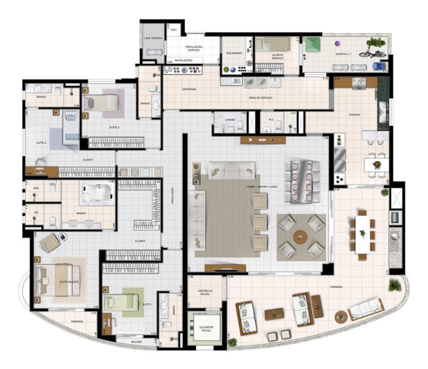 Perspectiva Ilustrada do Apartamento Tipo | Diamond LifeStyle – Apartamentono  Jardim Goiás - Goiânia - Goiás