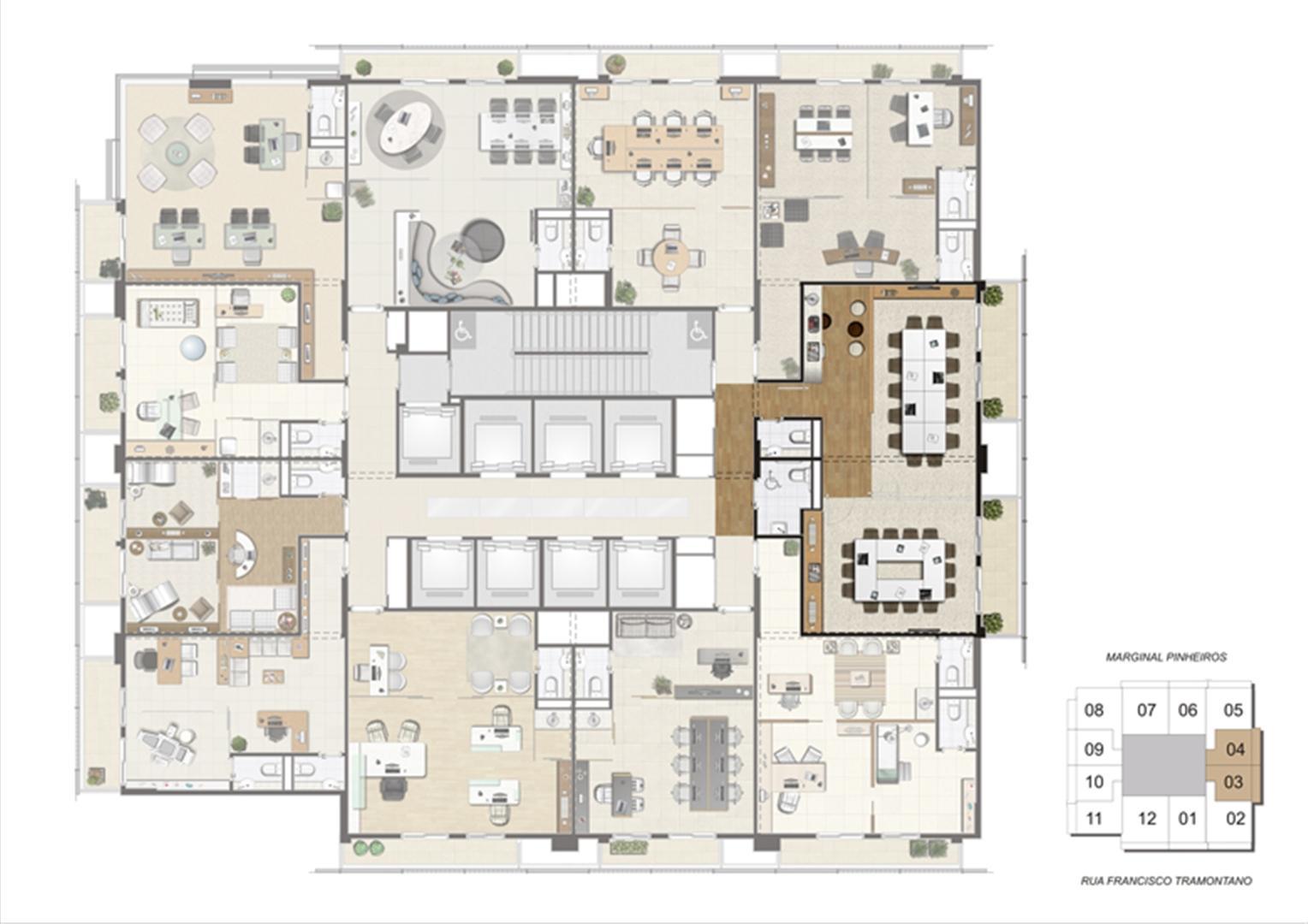 Planta de localização das salas de reunião 1º pavimento | Escritórios Morumbi Prime – Salas Comerciais no  Morumbi - São Paulo - São Paulo