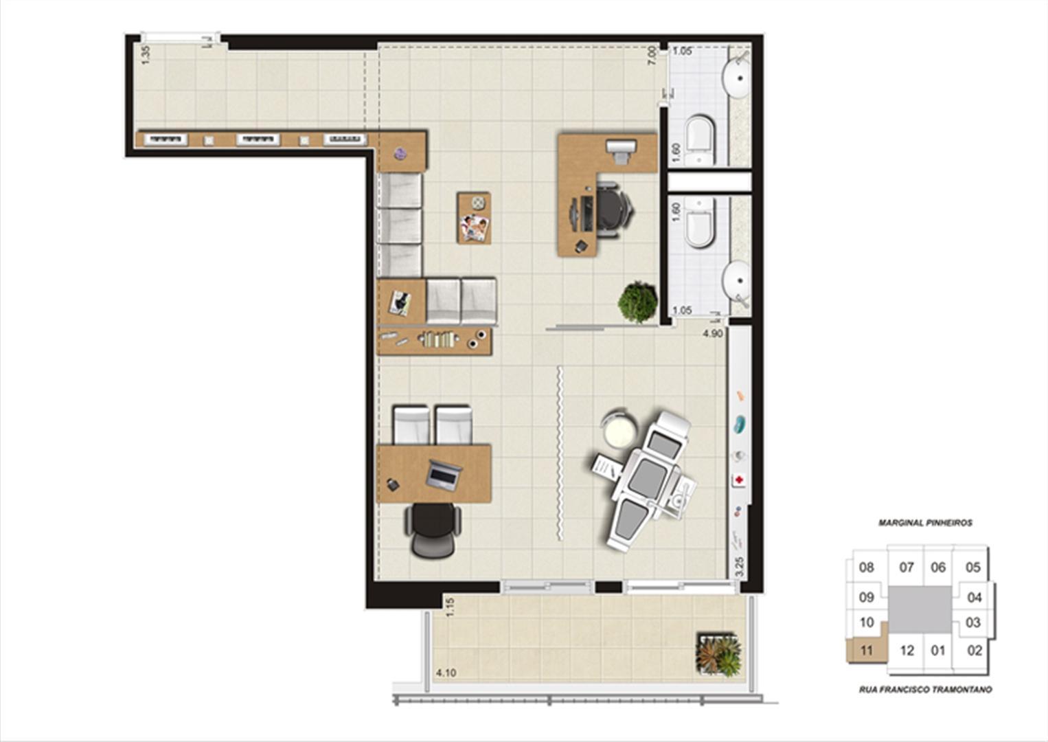 Planta do escritório de 48 m² | Escritórios Morumbi Prime – Salas Comerciais no  Morumbi - São Paulo - São Paulo