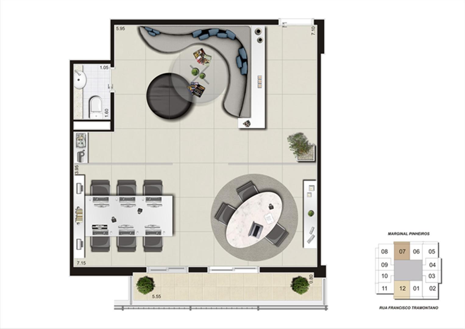 Planta do escritório de 59 m² | Escritórios Morumbi Prime – Salas Comerciais no  Morumbi - São Paulo - São Paulo