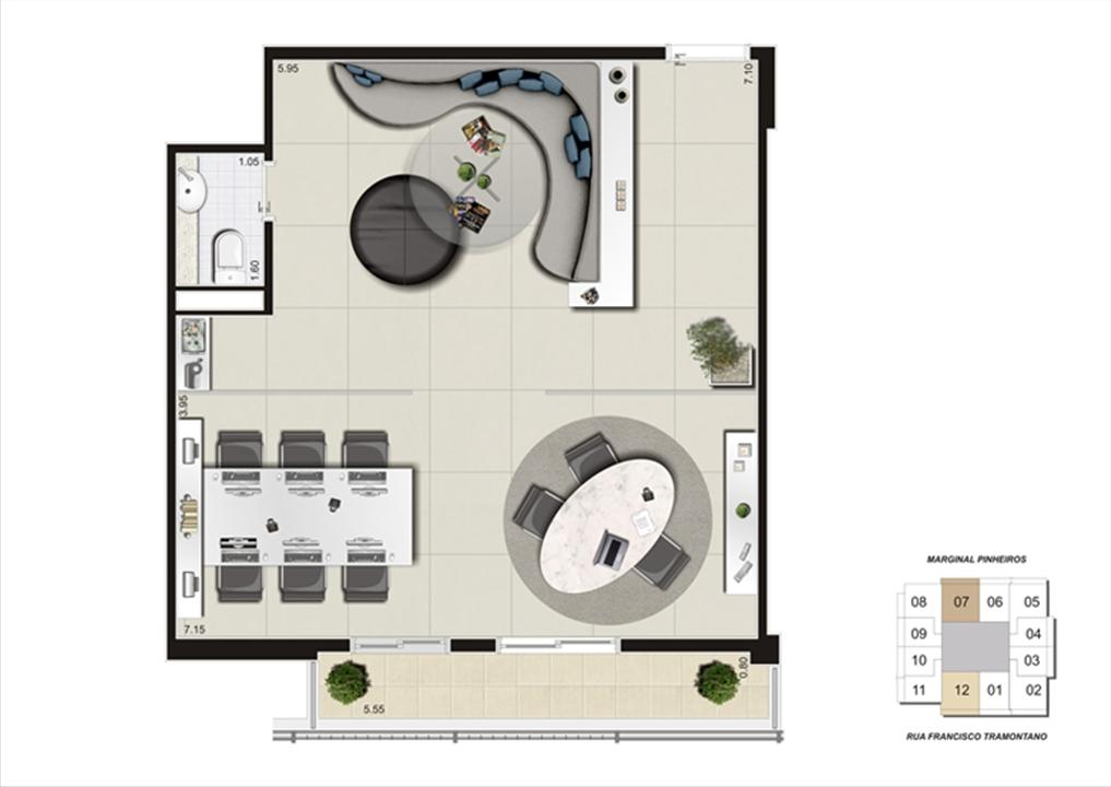 Planta do escritório de 59 m² | Escritórios Morumbi Prime – Salas Comerciaisno  Morumbi - São Paulo - São Paulo