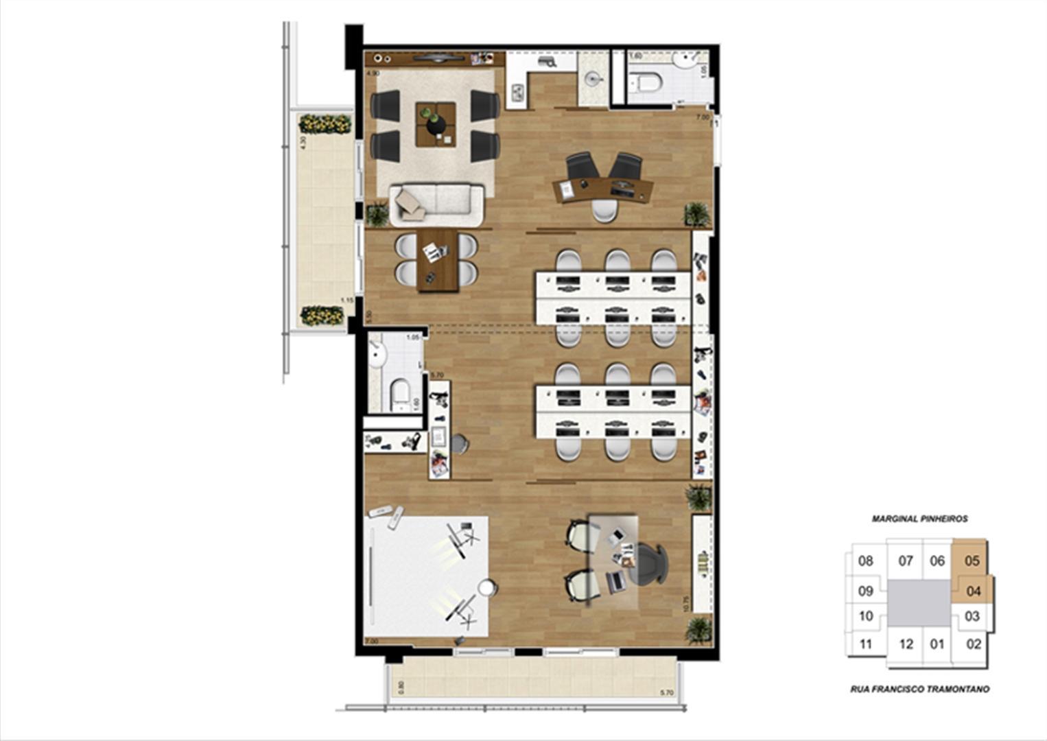 Planta junção de 100 m² | Escritórios Morumbi Prime – Salas Comerciais no  Morumbi - São Paulo - São Paulo