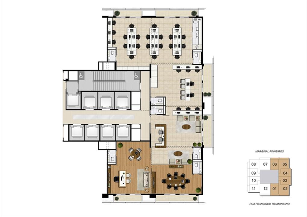 Planta junção de 300 m² | Escritórios Morumbi Prime – Salas Comerciaisno  Morumbi - São Paulo - São Paulo
