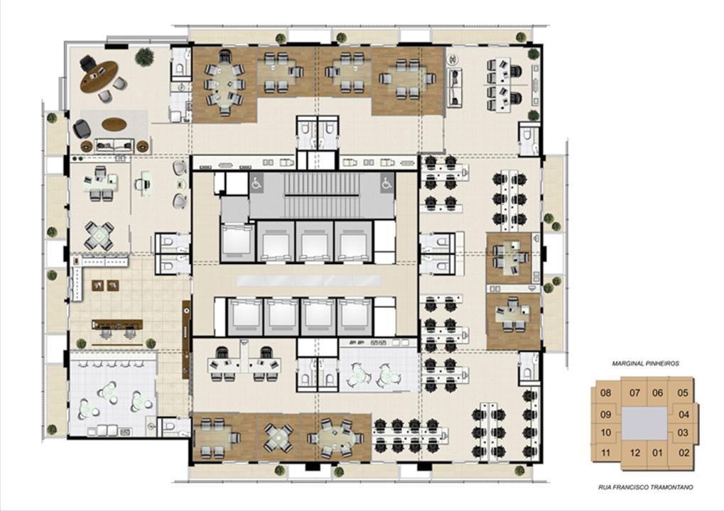 Planta junção de 600 m² | Escritórios Morumbi Prime – Salas Comerciaisno  Morumbi - São Paulo - São Paulo