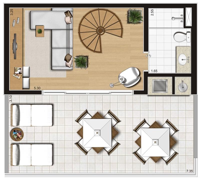 Planta ilustrada do pavimento superior do duplex de 93 m² | Emirado – Apartamentono  Boqueirão - Santos - São Paulo