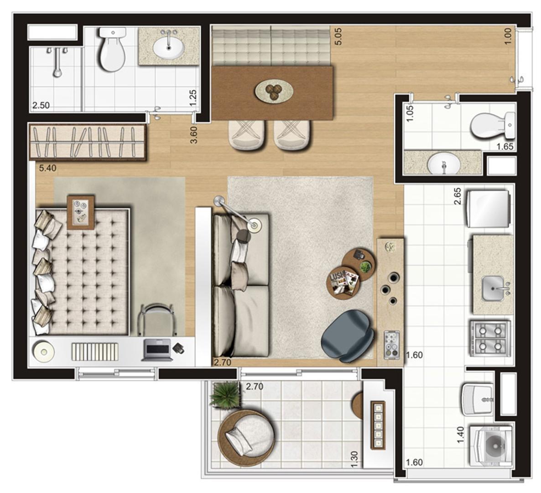 Planta ilustrada opção de 47 m² | Emirado – Apartamento no  Boqueirão - Santos - São Paulo