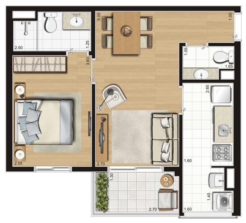 Planta ilustrada tipo de 47 m² | Emirado – Apartamentono  Boqueirão - Santos - São Paulo