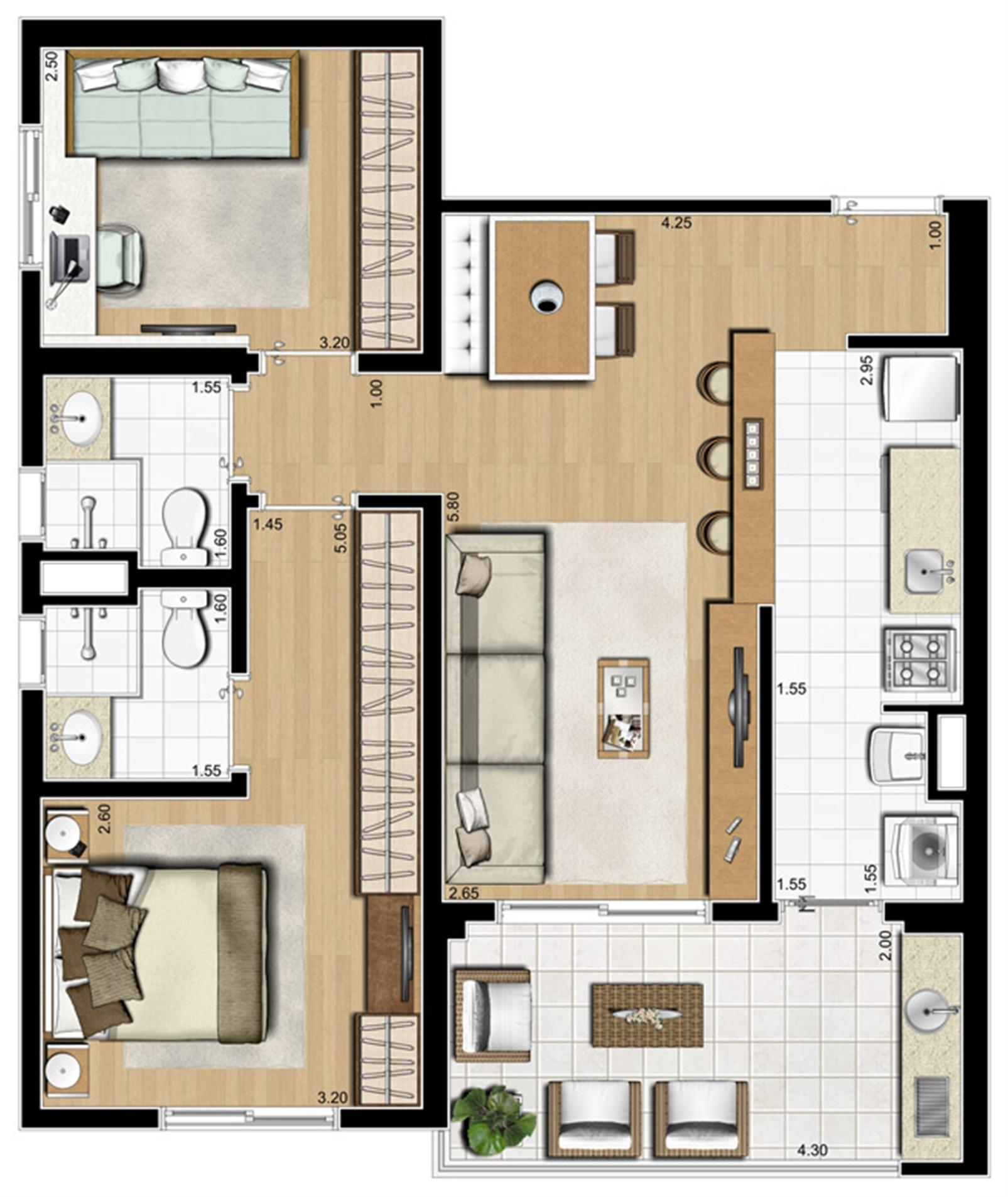 Planta ilustrada tipo de 70 m² | Emirado – Apartamentono  Boqueirão - Santos - São Paulo