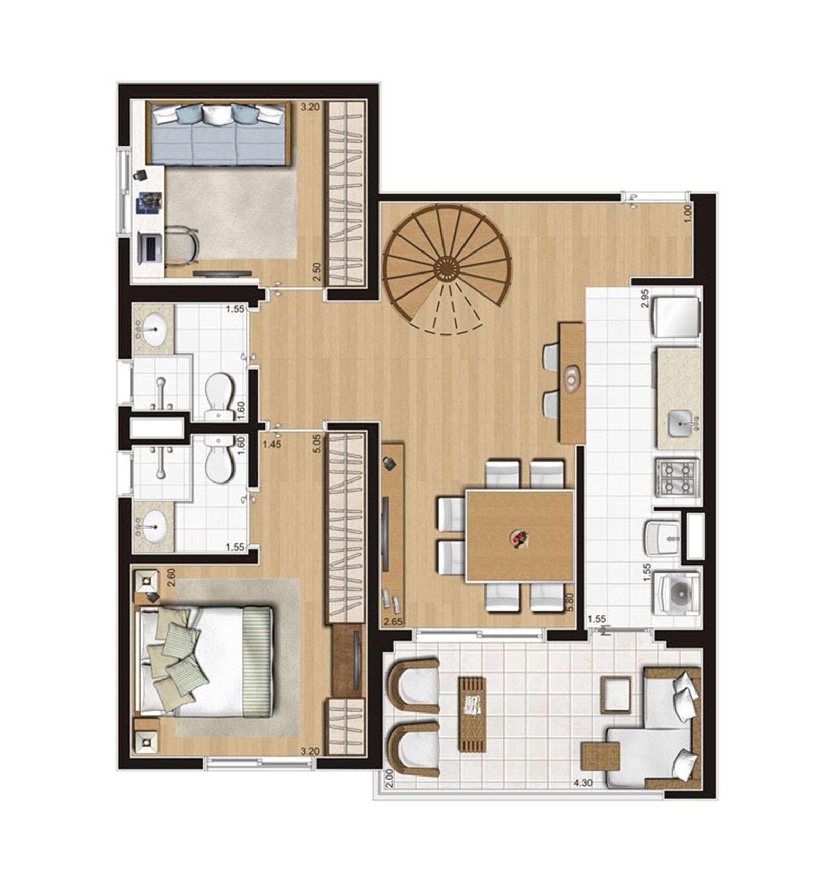 Planta ilustrada do pavimento inferior do duplex de 137 m² | Emirado – Apartamentono  Boqueirão - Santos - São Paulo