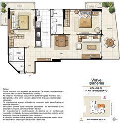 Apartamento Tipo Coluna 01 - 1º ao 13º Pavimento | Wave Ipanema – Apartamento em  Ipanema - Rio de Janeiro - Rio de Janeiro