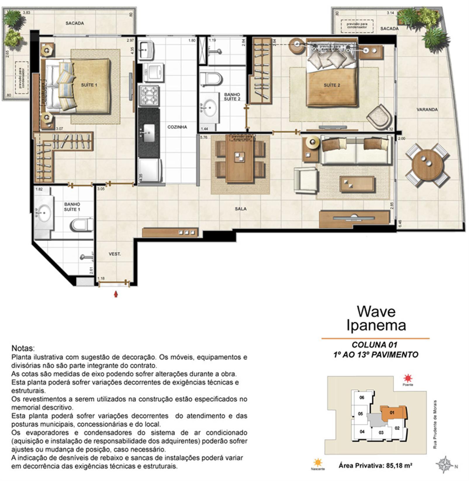 Apartamento Tipo Coluna 01 - 1º ao 13º Pavimento | Wave Ipanema – Apartamentoem  Ipanema - Rio de Janeiro - Rio de Janeiro