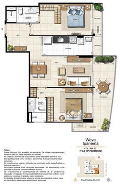 Apartamento Tipo Coluna 02 - 1º ao 13º Pavimento | Wave Ipanema – Apartamento em  Ipanema - Rio de Janeiro - Rio de Janeiro