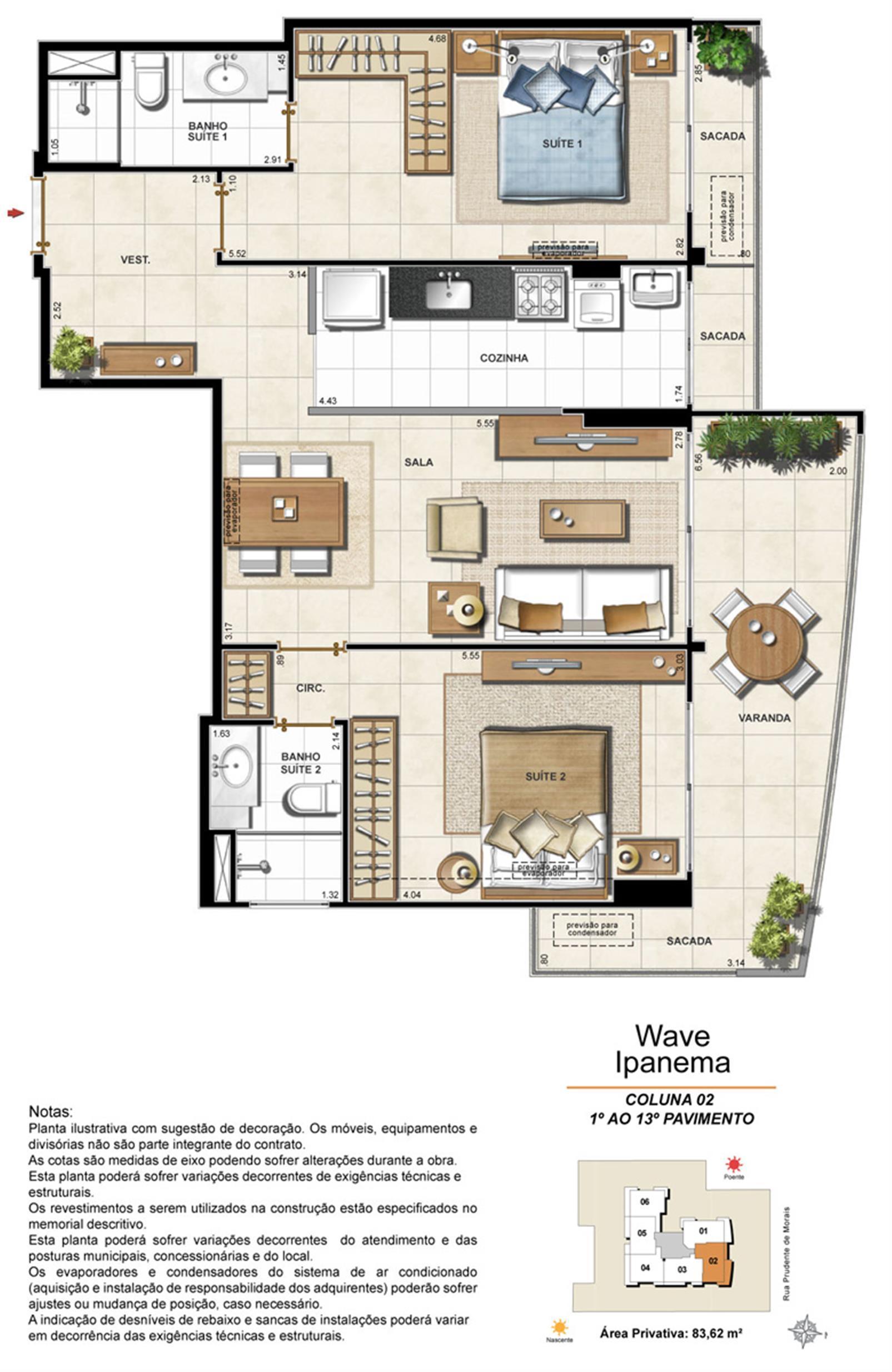 Apartamento Tipo Coluna 02 - 1º ao 13º Pavimento | Wave Ipanema – Apartamentoem  Ipanema - Rio de Janeiro - Rio de Janeiro