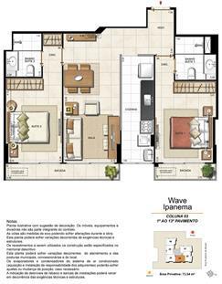 Apartamento Tipo Coluna 03 - 1º ao 13º Pavimento | Wave Ipanema – Apartamento em  Ipanema - Rio de Janeiro - Rio de Janeiro