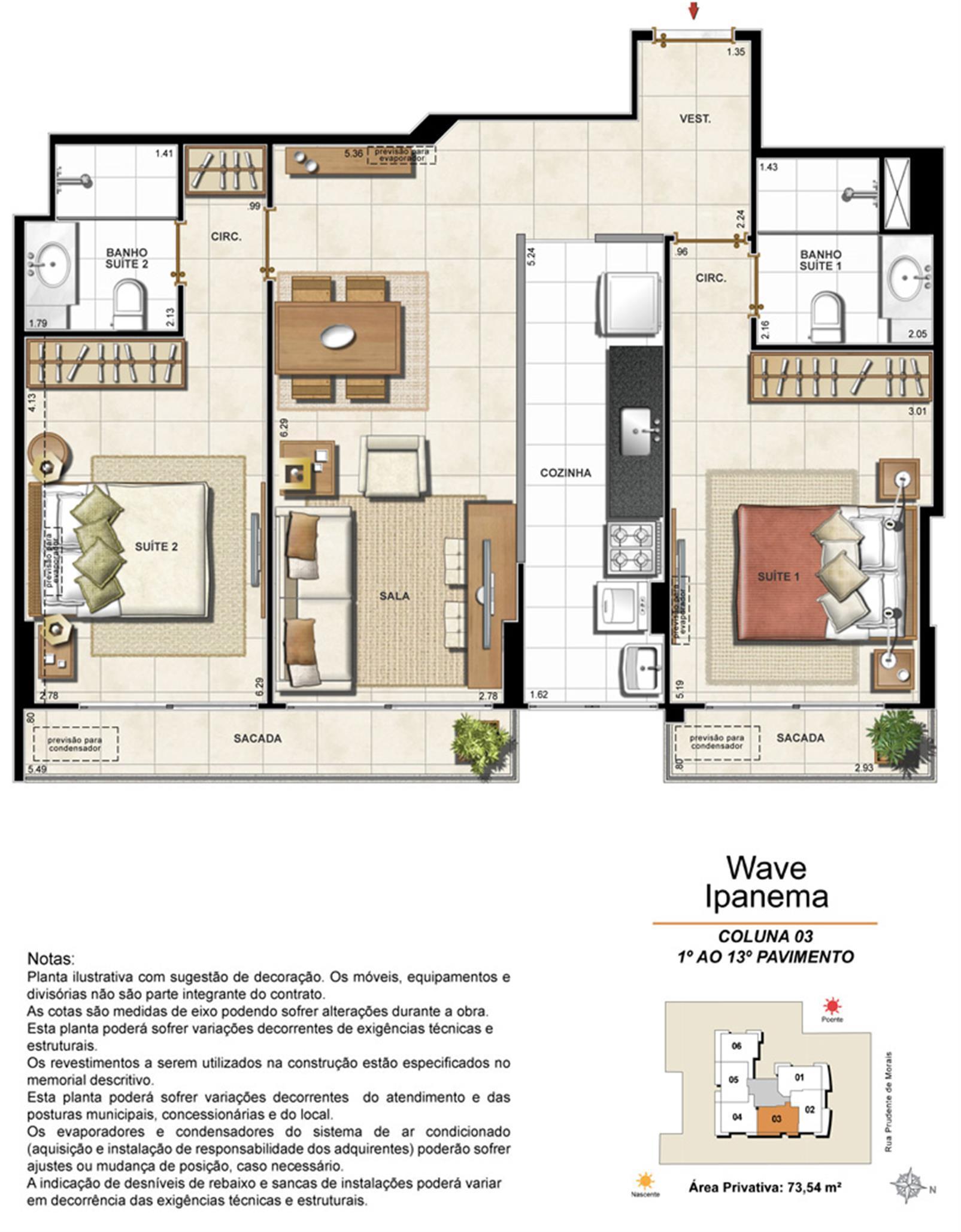 Apartamento Tipo Coluna 03 - 1º ao 13º Pavimento | Wave Ipanema – Apartamentoem  Ipanema - Rio de Janeiro - Rio de Janeiro