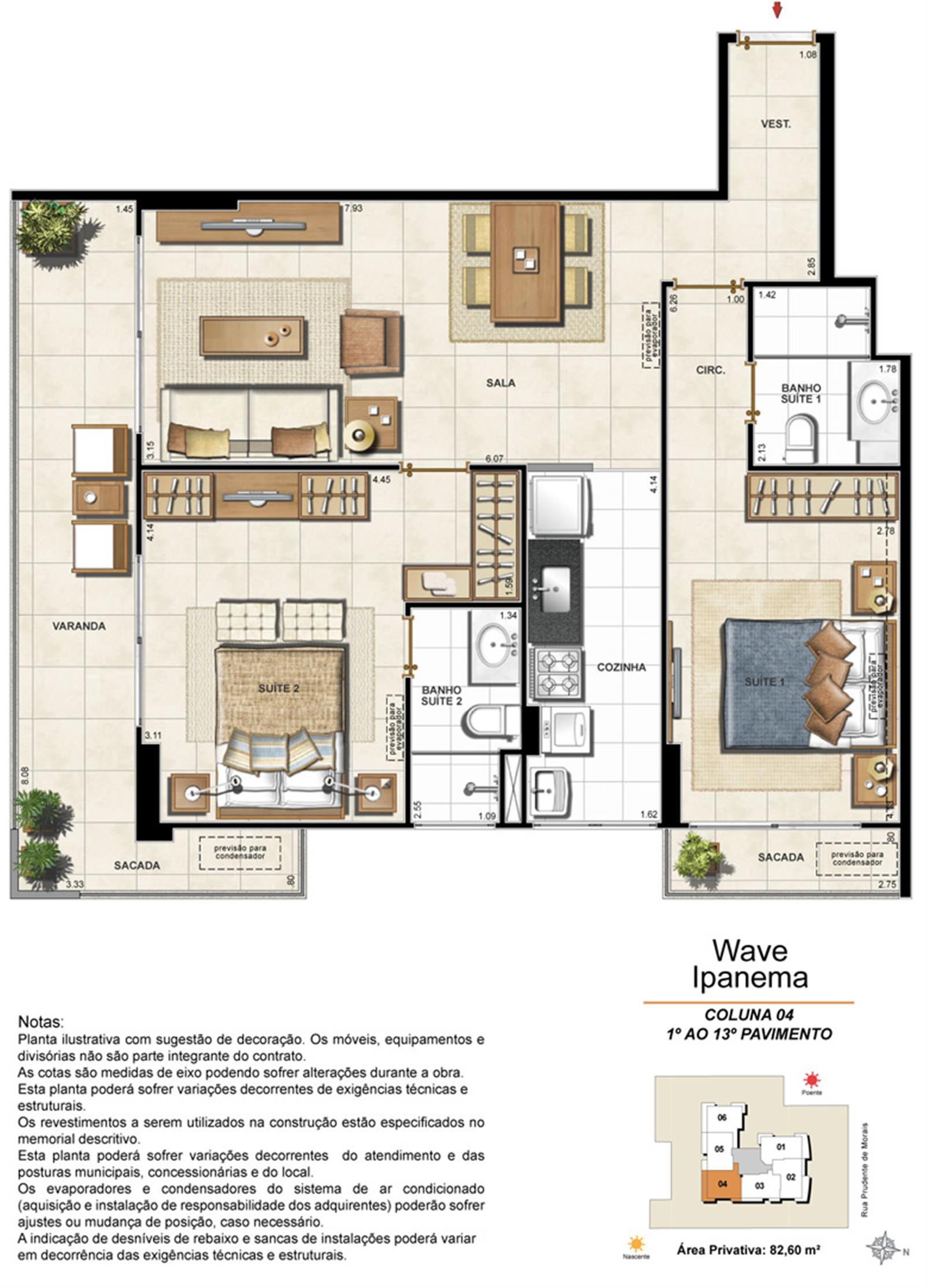 Apartamento Tipo Coluna 04 - 1º ao 13º Pavimento | Wave Ipanema – Apartamentoem  Ipanema - Rio de Janeiro - Rio de Janeiro