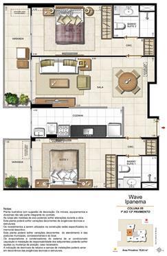 Apartamento Tipo Coluna 05 - 1º ao 13º Pavimento | Wave Ipanema – Apartamento em  Ipanema - Rio de Janeiro - Rio de Janeiro