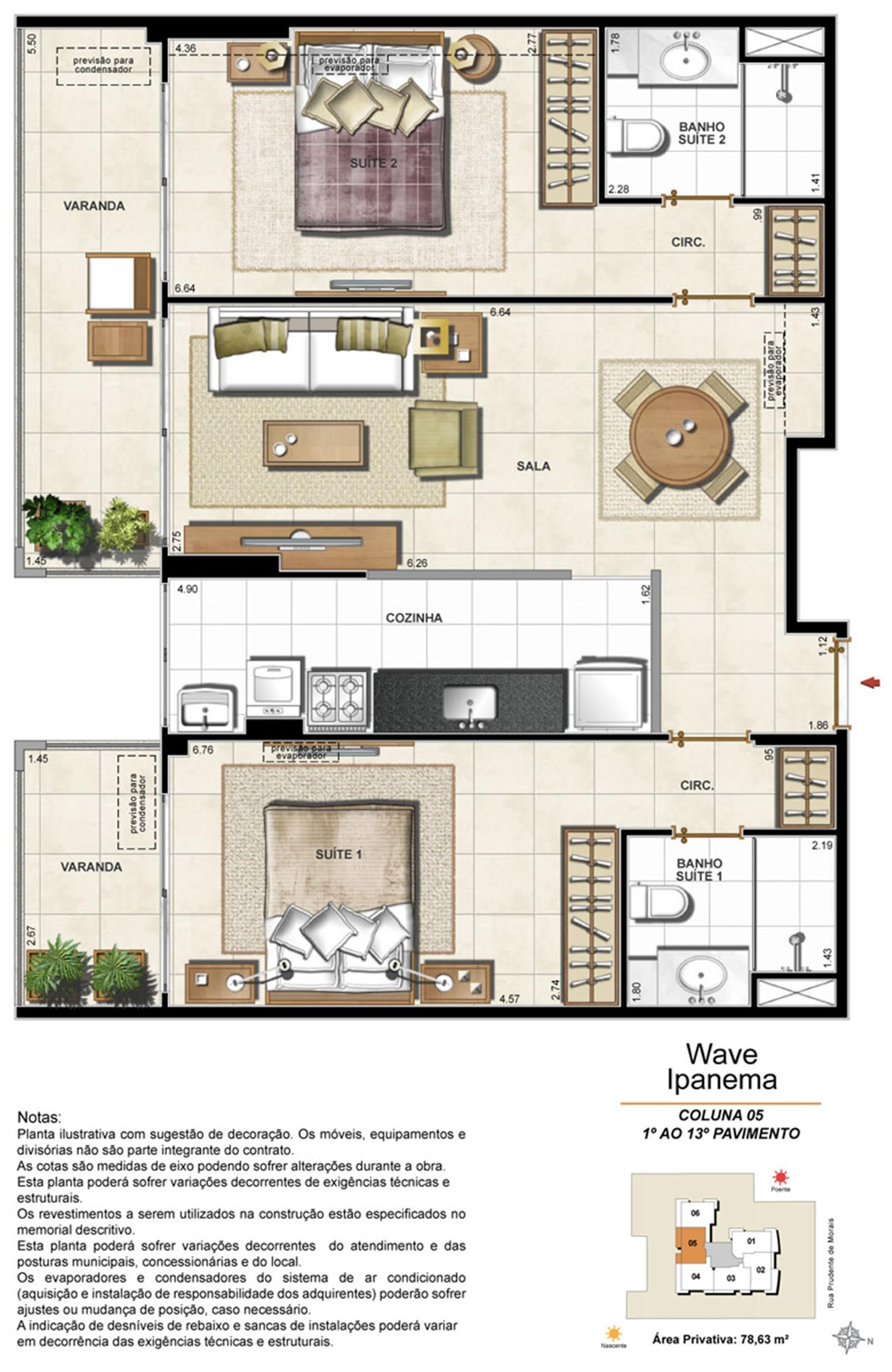 Apartamento Tipo Coluna 05 - 1º ao 13º Pavimento | Wave Ipanema – Apartamentoem  Ipanema - Rio de Janeiro - Rio de Janeiro