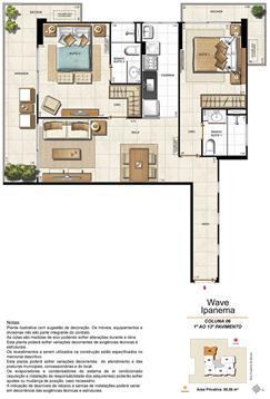 Apartamento Tipo Coluna 06 - 1º ao 13º Pavimento | Wave Ipanema – Apartamento em  Ipanema - Rio de Janeiro - Rio de Janeiro