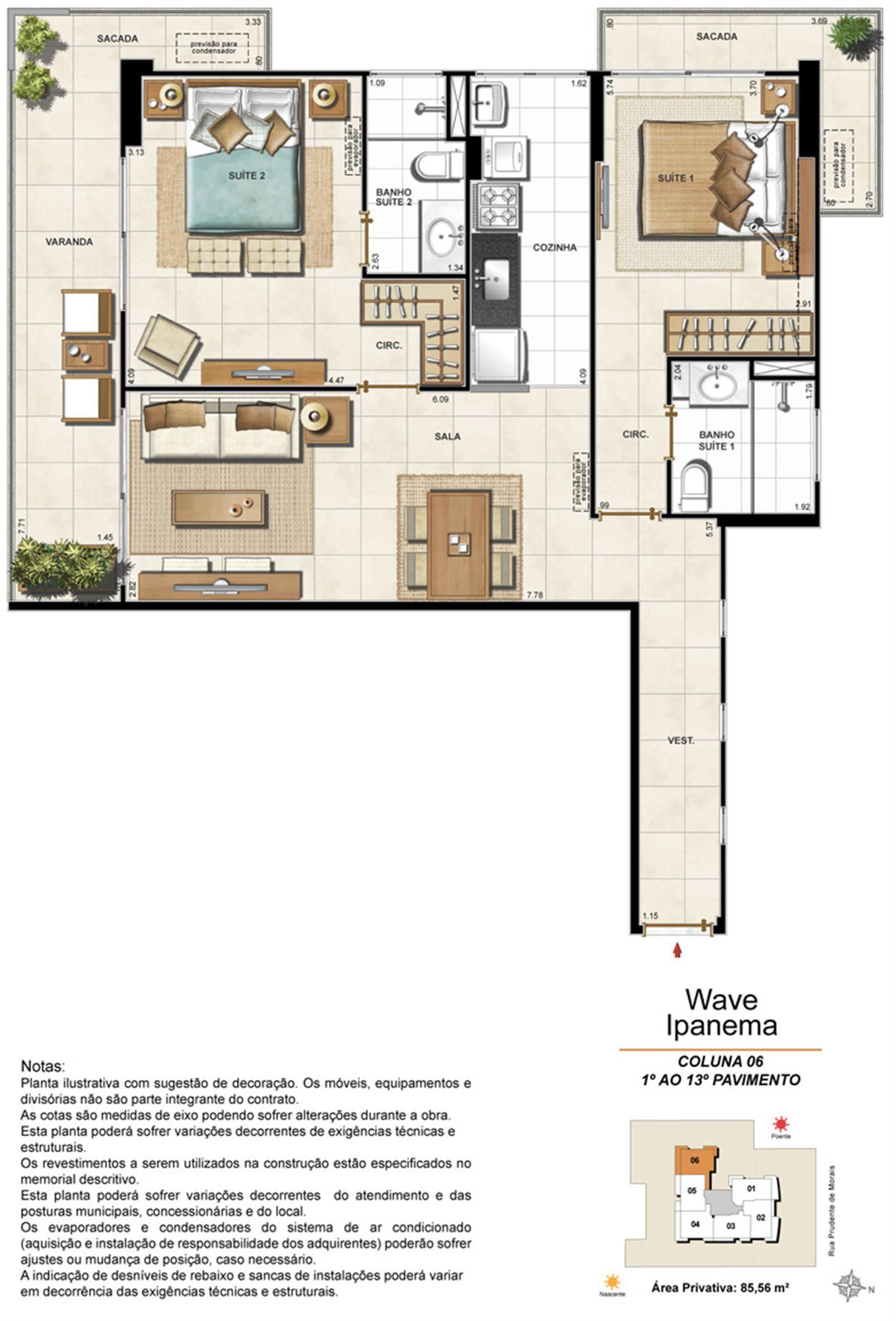 Apartamento Tipo Coluna 06 - 1º ao 13º Pavimento | Wave Ipanema – Apartamentoem  Ipanema - Rio de Janeiro - Rio de Janeiro
