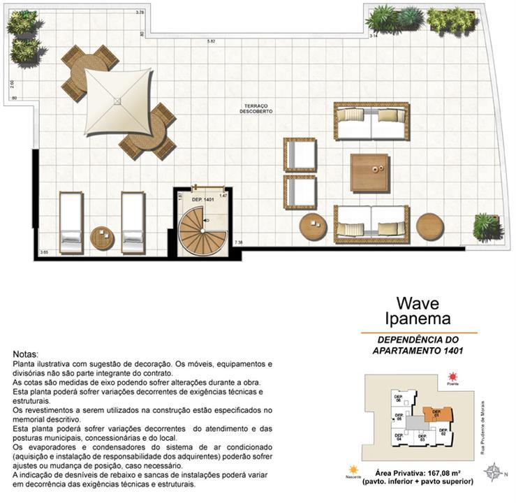 Dependência Cobertura 1401 | Wave Ipanema – Apartamentoem  Ipanema - Rio de Janeiro - Rio de Janeiro