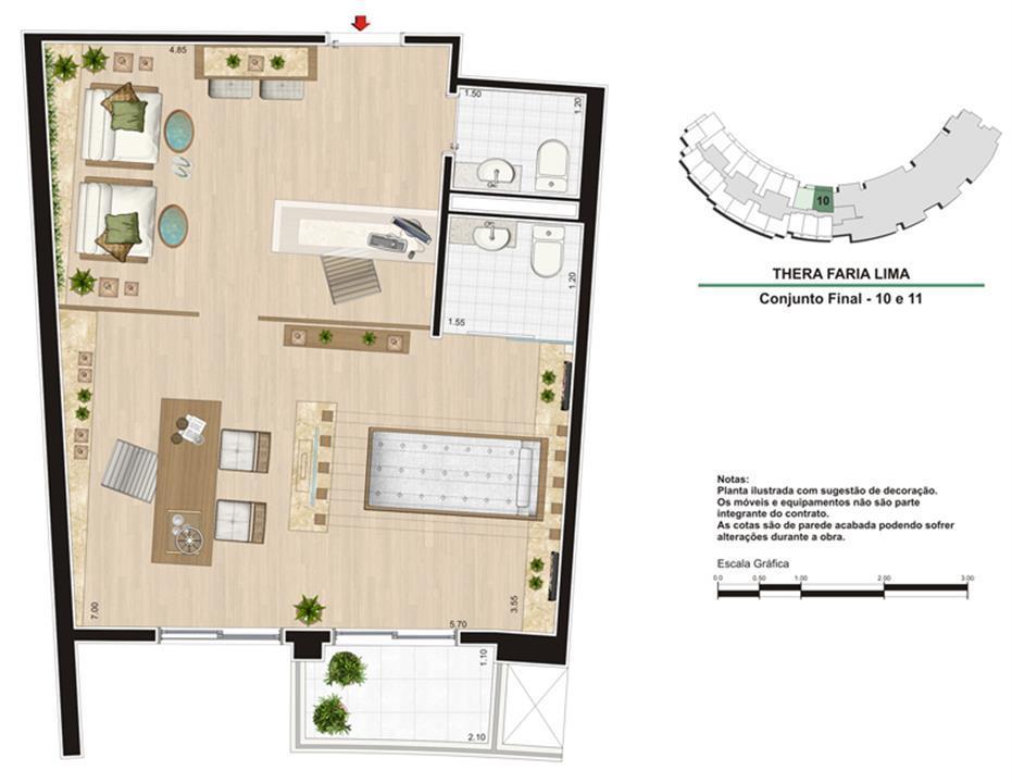 Planta Escritório 50 m²   Spa | Thera Faria Lima Pinheiros Office – Salas Comerciaisem  Pinheiros - São Paulo - São Paulo