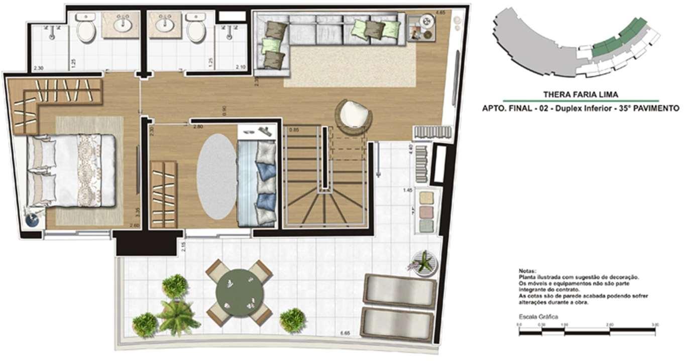 Planta de 138m²   Duplex inferior | Thera Faria Lima Pinheiros Residence – Apartamentoem  Pinheiros - São Paulo - São Paulo