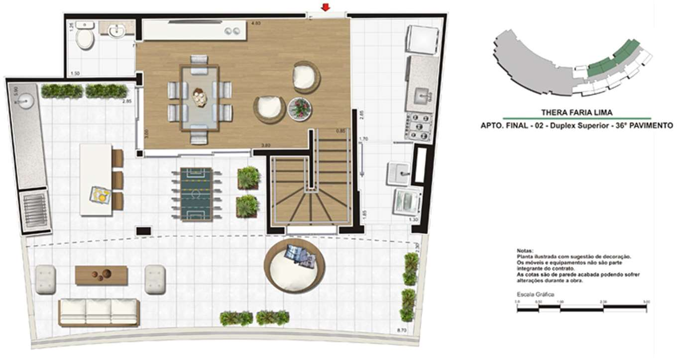 Planta de 138m²   Duplex superior | Thera Faria Lima Pinheiros Residence – Apartamentoem  Pinheiros - São Paulo - São Paulo