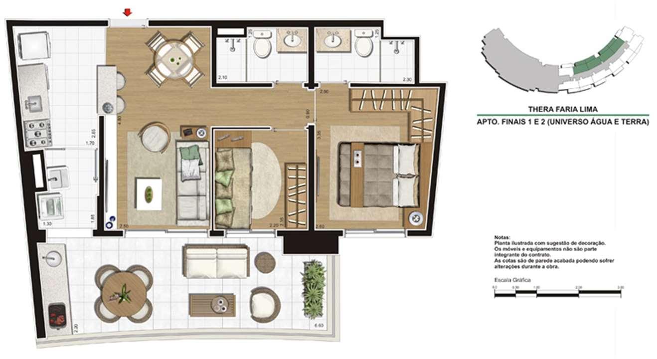 Planta do apartamento de 68m² | Thera Faria Lima Pinheiros Residence – Apartamentoem  Pinheiros - São Paulo - São Paulo