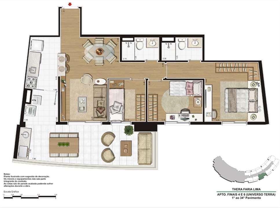 Planta do apartamento de 90m² | Thera Faria Lima Pinheiros Residence – Apartamentoem  Pinheiros - São Paulo - São Paulo