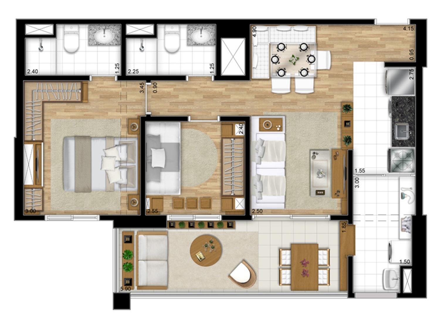 Planta opção de 68 m² | Encontro Ipiranga – Apartamento no  Ipiranga - São Paulo - São Paulo
