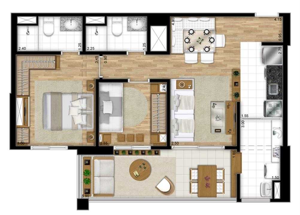 Planta opção de 68 m² | Encontro Ipiranga – Apartamentono  Ipiranga - São Paulo - São Paulo