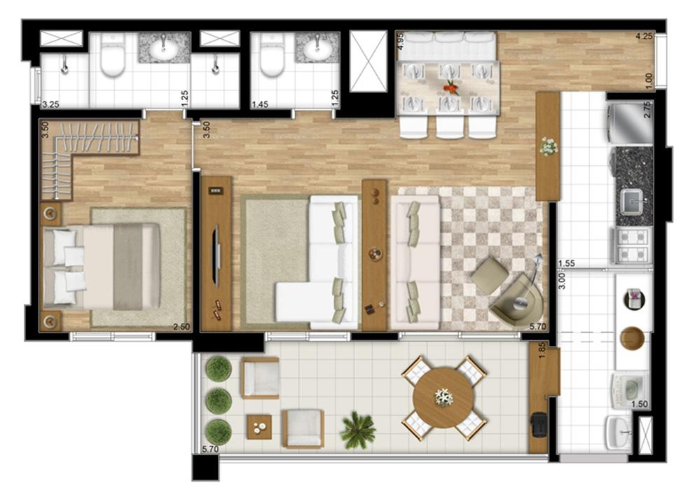 Planta tipo Ponta de 68 m² - Opção Sala Ampliada | Encontro Ipiranga – Apartamentono  Ipiranga - São Paulo - São Paulo
