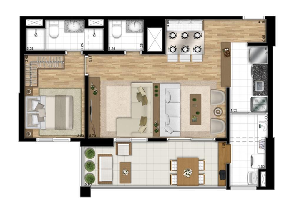 Planta tipo Meio opção de 68 m² - Opção Sala Ampliada | Encontro Ipiranga – Apartamentono  Ipiranga - São Paulo - São Paulo