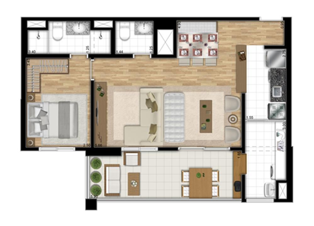 Planta tipo Meio de 67,83 m² - Opção Sala Ampliada | Encontro Ipiranga – Apartamentono  Ipiranga - São Paulo - São Paulo