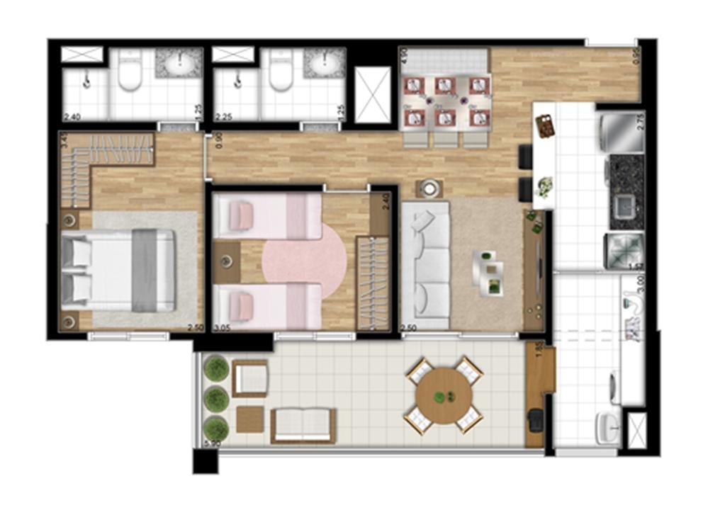 Planta tipo Meio de 67,83 m² | Encontro Ipiranga – Apartamentono  Ipiranga - São Paulo - São Paulo