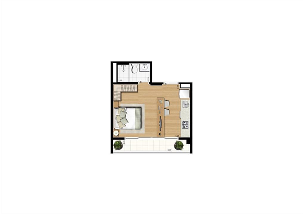 Planta studio inteligente de 30 m² | Home Boutique – Apartamentono  Brooklin - São Paulo - São Paulo