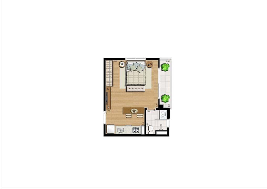 Planta studio inteligente de 31 m² | Home Boutique – Apartamentono  Brooklin - São Paulo - São Paulo