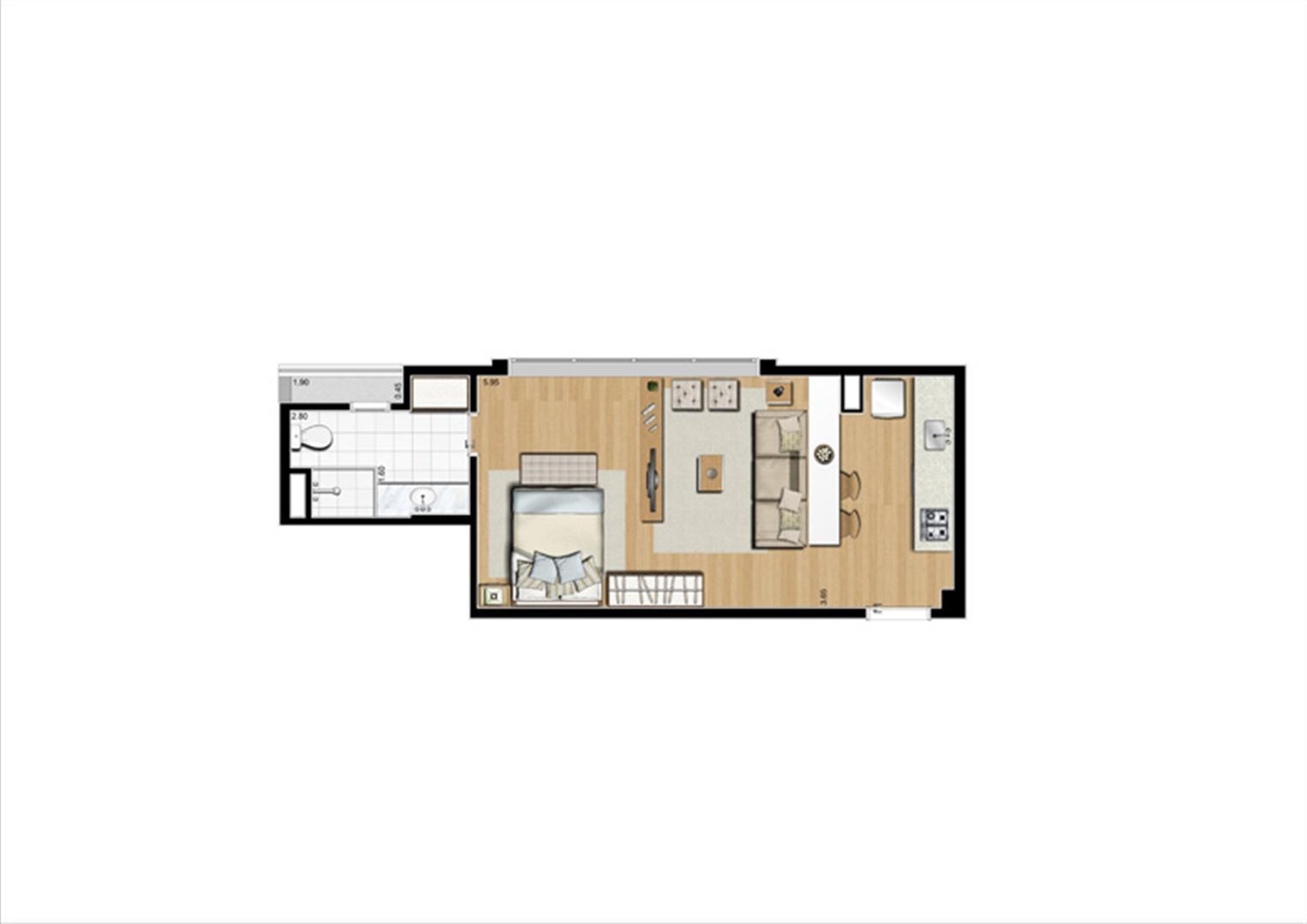 Planta studio inteligente de 40 m² | Home Boutique – Apartamento no  Brooklin - São Paulo - São Paulo