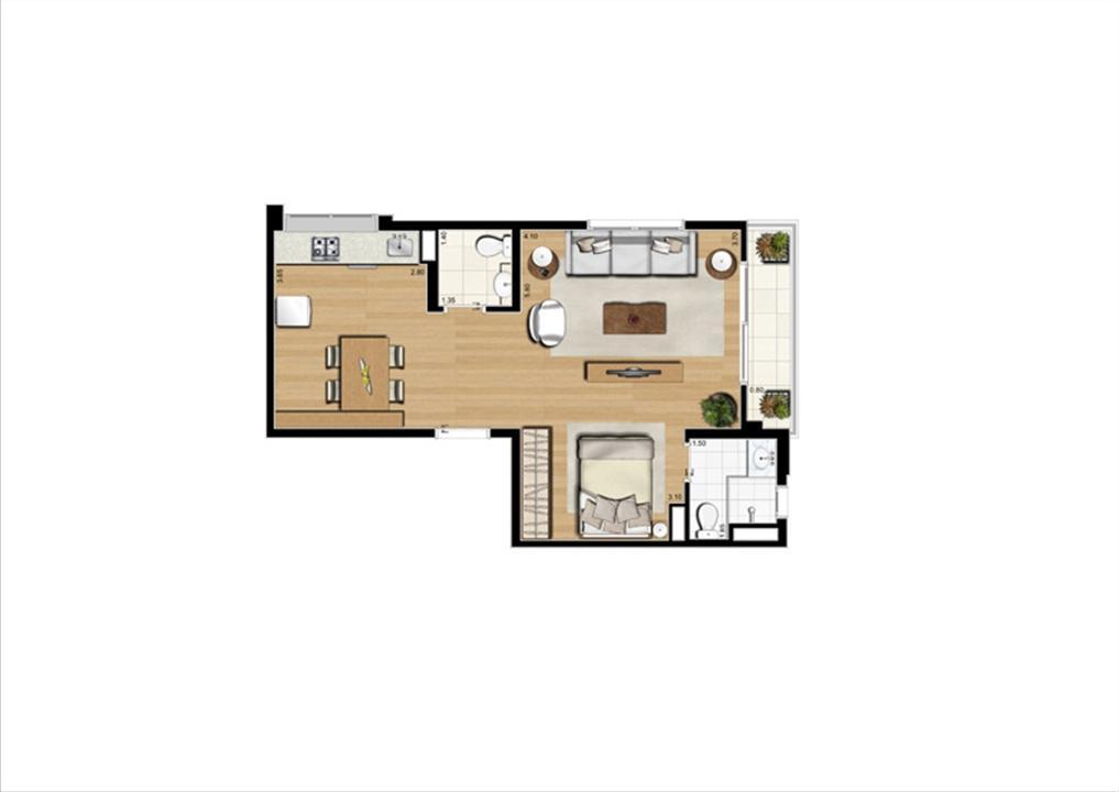 Planta studio inteligente de 51 m² | Home Boutique – Apartamentono  Brooklin - São Paulo - São Paulo