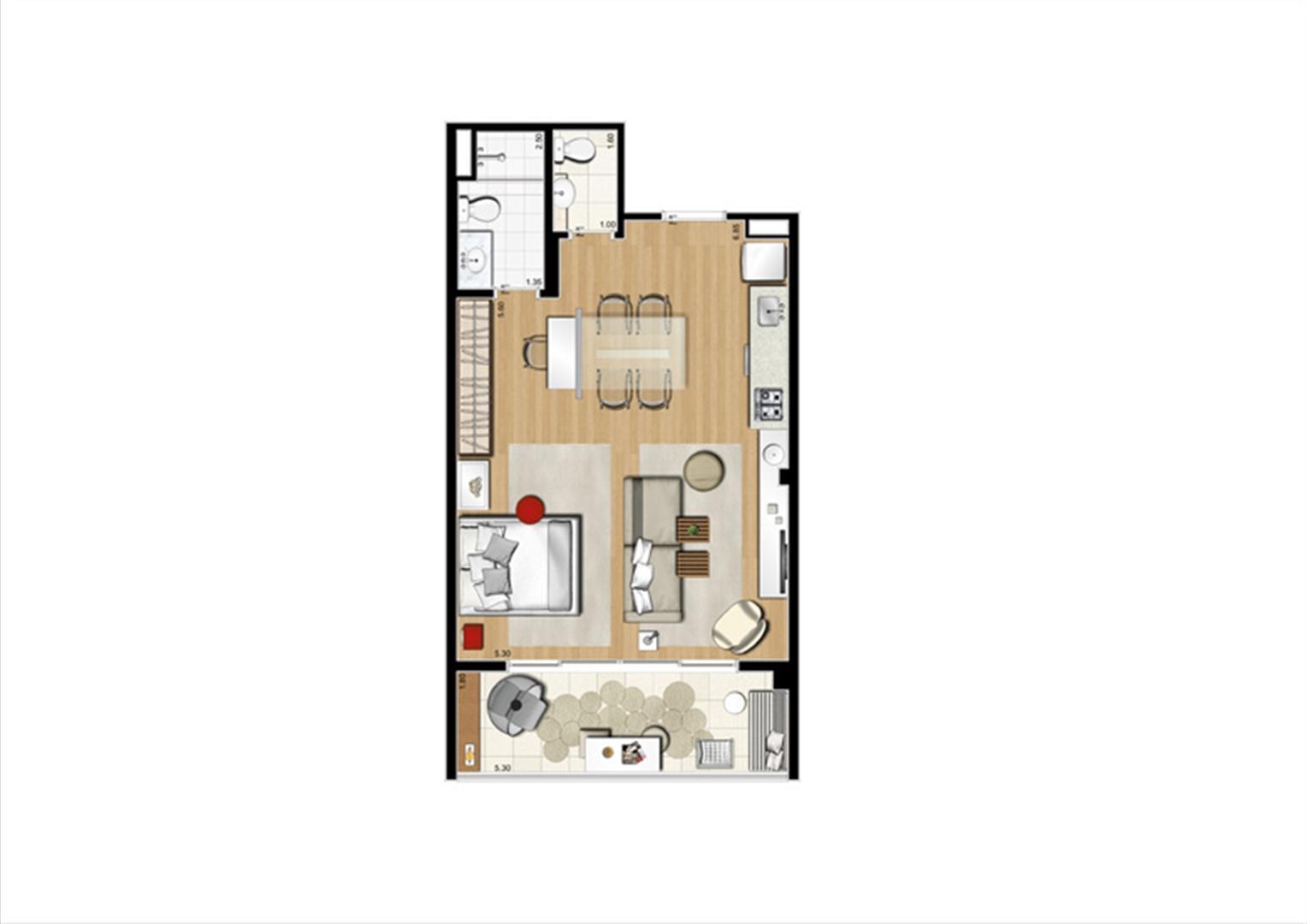 Planta studio inteligente de 54 m² | Home Boutique – Apartamento no  Brooklin - São Paulo - São Paulo