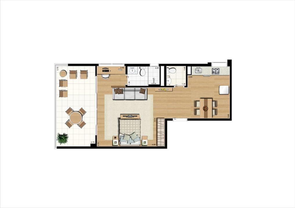 Planta studio inteligente de 66 m² | Home Boutique – Apartamentono  Brooklin - São Paulo - São Paulo